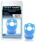 Blush Novelties Stay Hard Vibrating Reusable 5 Function Cock Ring, Blue