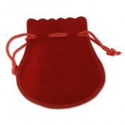 Velvet Drawstring Pouch 8.9cm X 7.6cm Red Jewellery Pouch