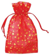 Red Organza Pouch w/ Gold Stars