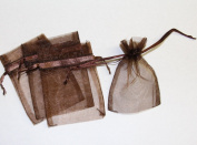 36 Organza Favour Gift Bags - 7.6cm x10cm - Brown