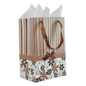 Brown White Black Stripes and Flowers Pattern with Satin Bowtie & Handle Gift Bags with Tissue Paper - Brown