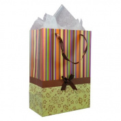 Colourful Stripes and Simple Flowers Pattern with Satin Bowtie & Handle Gift Bags with Tissue Paper - Yellow