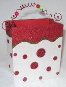 Red & White Glitter Holiday Wooden Christmas Candy Bag