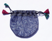 Silk Sari Small Drawstring Pouch Bag in Cool Colours