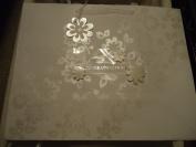 American Greetings Elegant White Floral tone on tone Congratulations Wedding Gift Bag - 13 W x 10 H x 5 D