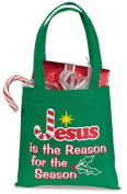 Candy Cane Design Jesus is the Reason for the Season 15cm Green Square Polyester Christmas Gift Bag Tote