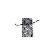 Organza Bag Small Silver/Black Scroll Pattern