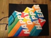 Happy Day Happy Year Gift Bag Rainbow Colours on Black 28cm h X 27cm w