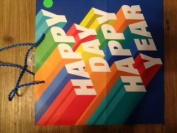 Happy Day Happy Year Rainbow Colours on Blue Large Gift Bag 38cm h X 32cm w