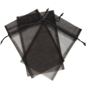 10 Designer Organza Fabric Gift Bags and Gift Pouches Party Gift Bags SET of 25cm Black 14cm x 23cm