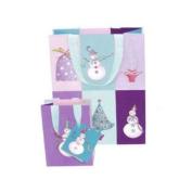 Christmas Holiday Gift Bag, Roger La Borde Snowmen Checkerboard, Small