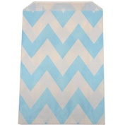 Chevron Stripe Food Treat & Favour Paper Bags 12Pk Light Blue 5X7