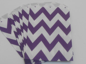 Chevron Stripe Food Treat & Favour Paper Bags 12Pk Purple 5X7 - Twilight Parties