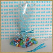 "25pcs 13cm x20cm ""Polka Dot Blue"" Gift Cello Bag + Twist Ties"
