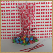 "25pcs 13cm x20cm ""Polka Dot Red"" gift cello bag + twist ties"