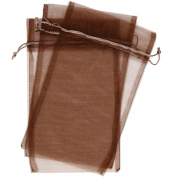 10 Designer Organza Fabric Gift Bags and Gift Pouches Party Gift Bags SET of 25cm Espresso Chestnut Brown 17cm x 30cm