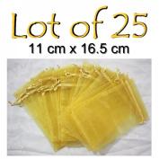 Organza Bags 25 pcs GOLD Drawstring Pouch 11cm x 17cm