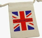 God Save the Queen - British Great Britain England Flag Muslin Cotton Gift Party Favour Bags