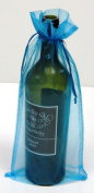 6 Turquoise Organza Bags - Bottle/Wine Bags Gift Pouch, 15cm x 36cm