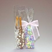 100 Bag Set - Top Quality 3 x 11 Cello Cellophane Bags - Acrylic Coated Crisp Crystal Clear 1.2 Mil