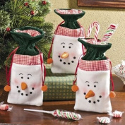 Snowman Drawstring Gift Bags - Gift Bags, Wrap & Ribbon & Gift Bags and Gift Boxes