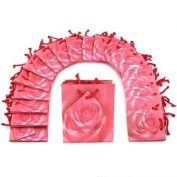 20 Pink Rose Shopping Tote Gift Bags & Card 8.9cm