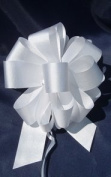 10 Pull String Bows - Gift Wrap Packaging - 13cm 20 Loops - 3.2cm - White