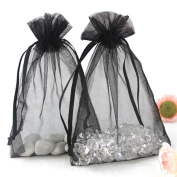 "Black 3.5x4.7"" 9x12cm Drawstring Organza Pouch Strong Wedding Favour Gift Candy Bag"