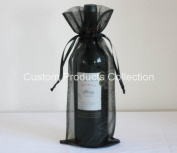 12 Black Organza Bags - Bottle/Wine Bags Gift Pouch, 15cm x 36cm