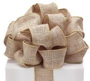 #9 Tan wired burlap ribbon~3.8cm W X 10 Yds Roll
