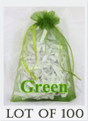 100 pcs GREEN Organza Drawstring Pouch Gift Bags - Jewellery Pouches, Weddings, Party Favours, Shops, Wholesale Lot - 11cm x 17cm