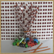 "100pcs 13cm x20cm ""Polka Dot Brown"" Gift Cello Bag + Twist Ties"