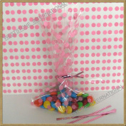 "100pcs 13cm x20cm ""Polka Dot Pink"" Gift Cello Bag + Twist Ties"