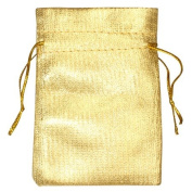 12 Gold Colour Plain Satin Drawstring Bags 80cm x 38cm XXL