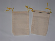 8.3cm x 13cm Muslin Bag with Black Hem Yellow Double Drawstring 100 Count Pack