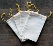 Cotton Muslin Bags 8.3cm x 13cm Yellow Double Drawstring 100 Count Pack