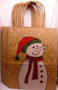 Snowman Christmas Brown Paper Gift Bags, Merry, 27cm X 21cm