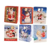 Large Glitter Christmas Bags 6ct