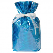 Gift Mate 21083-6 6-Piece Drawstring Gift Bags, Medium, Diamond Blue
