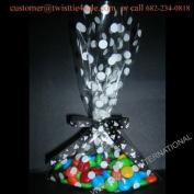 25pcs (13cm x 20cm Polka Dot White Cello Bags + Ribbon Bows) for Halloween Party