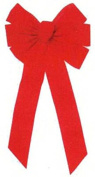 HOLIDAY TRIM 6072 7 Loop Velvet Bow for Decoration, Red