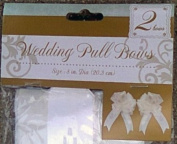 2 Large White Tulle Pull Bows - Each Measures 20cm