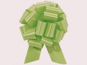 CELERY PISTACHIO Pull String Bows - 14cm Wide 20 Loops (1 & 2.2cm ribbon) Set of 10