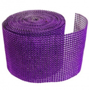 Purple Diamond Mesh Wrap Roll Rhinestone Crystal Ribbon 11cm x 10 yards