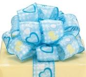 Blue White Baby Boy Satin Wired Ribbon #9 3.8cm X 20 Yds