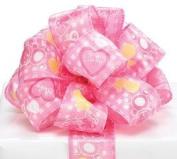 Pink Baby Girl Satin Wired Ribbon #9 3.8cm X 20 Yds