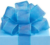 Blue Sheer Wired Ribbon #9 3.8cm X 20 Yards Florist