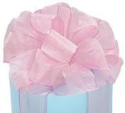 Pink & Champagne Shimmer Sheer Ribbon #9 3.8cm X 20 Yds