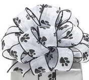 Paw Prints White Sheer Wired Ribbon #9 3.8cm X 20 Yds