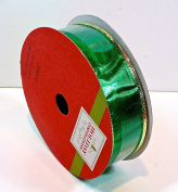 Jo-ann's Holiday Inspirations Ribbon,shimmer Emerald Green,gold Wire Edge,3.8cm X 100 Ft.